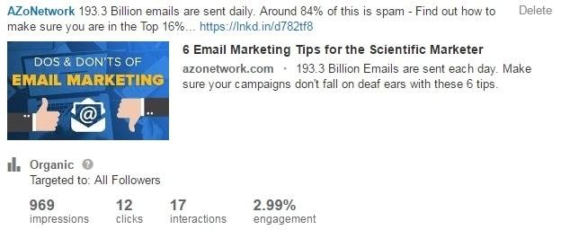Linkedin post on email marketing tips