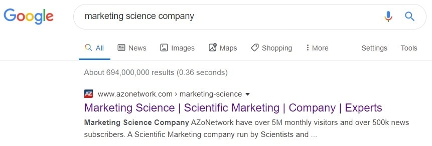 Google search - Marketing science company