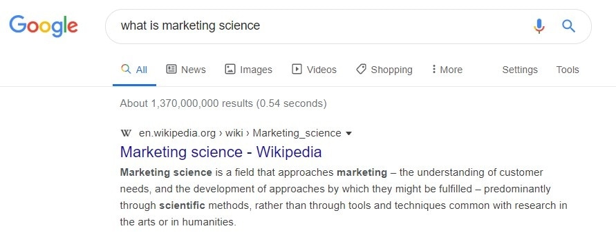 Google search - What is marketing science