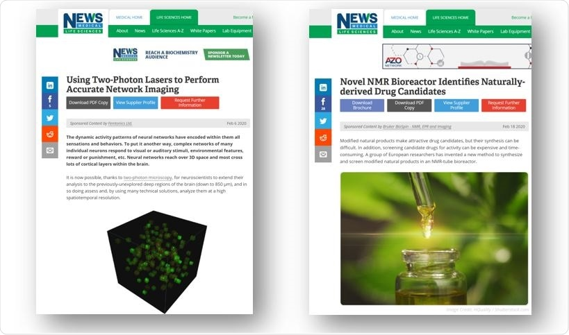 Application content examples on News-Medical.net