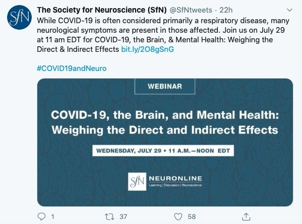 The Society of Neuroscience keeps its followers informed through twitter