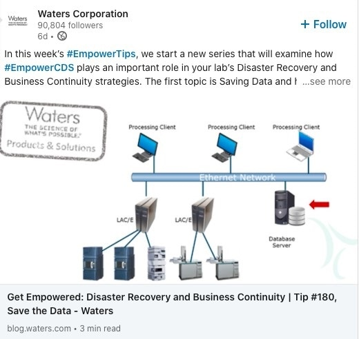 LinkedIn Waters Corporation post